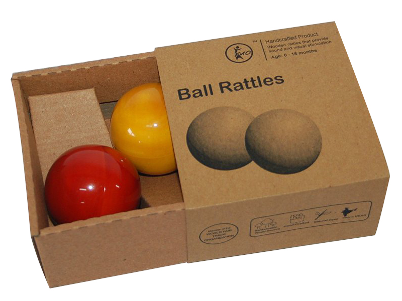Ball Rattles - Maya Organic, channapatna toys, 0 to 1 year