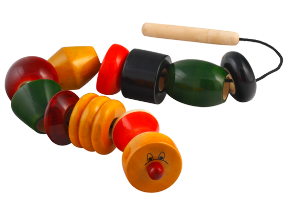 Beadler Toy - Wooden beads with wooden needle and thread. Toy for 2 – 3 years. Shop in Bangalore