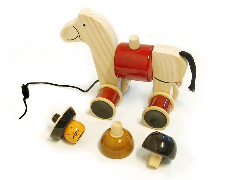 Hee-Haw – Chennapatna wooden build and play toy of three stacking parts. For children 1 to 2 years old. Buy Online India