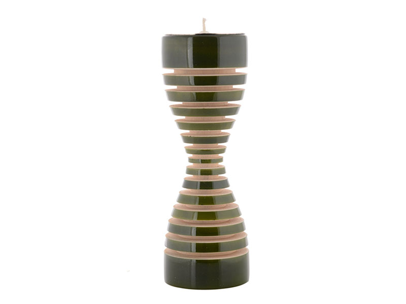 Lune candle Holder Green. Channapatna Wooden Home Décor