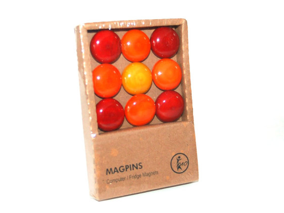 Magpins -nine wooden buttons with magnets for Computer/Fridge. Wooden Home Décor