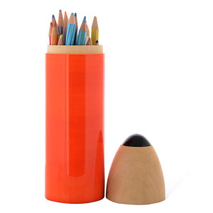 Wooden Pencil Box - Sketch Case (Orange)2