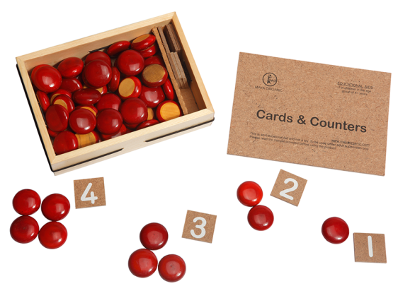 Cards and Counters - Educational Toy – buy Online India. Consists of number cards from 1 to 10 with 55+5 extra wooden counters