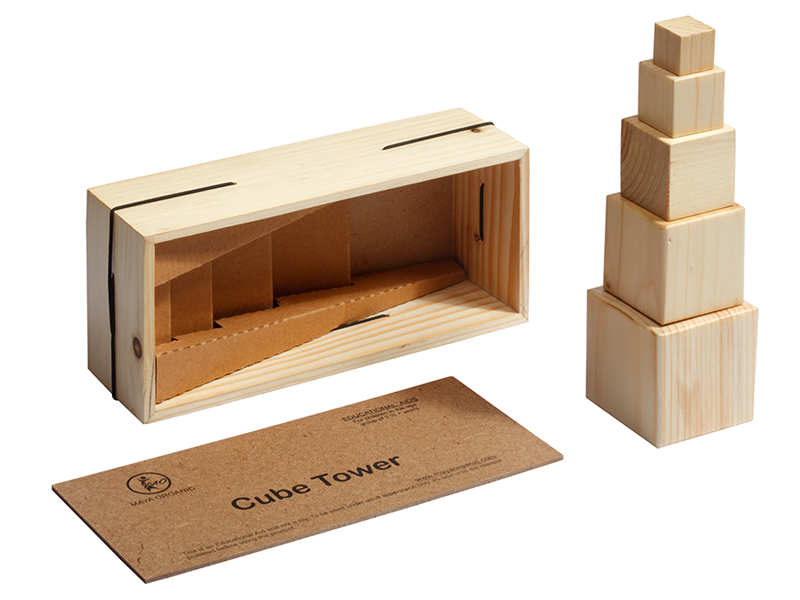 Cube Tower - Wooden Educational Toy – consists of 5 solid pinewood cubes