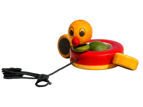 Duby Duck - Chennapatna wooden pull toy with paddling movement. 1 to 2 years old kids