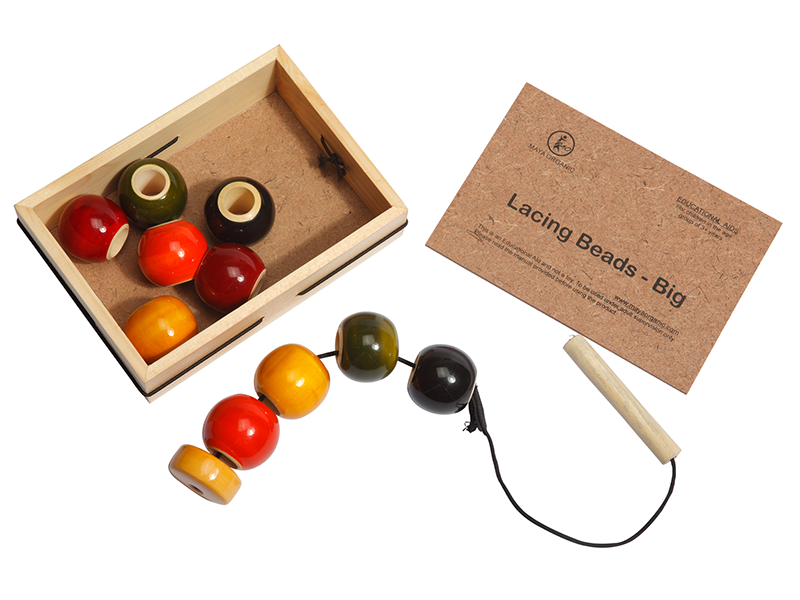 lacing beads Big - Wooden Educational Toy. 10 No.s of Big Wooden beads in 5 colours