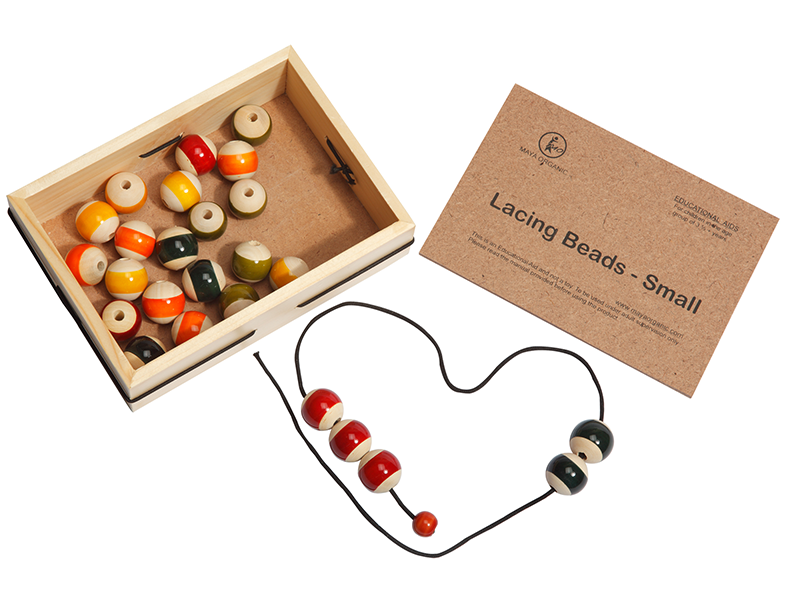 channapatna toys, wooden toy, lacing beads, mayaorganic