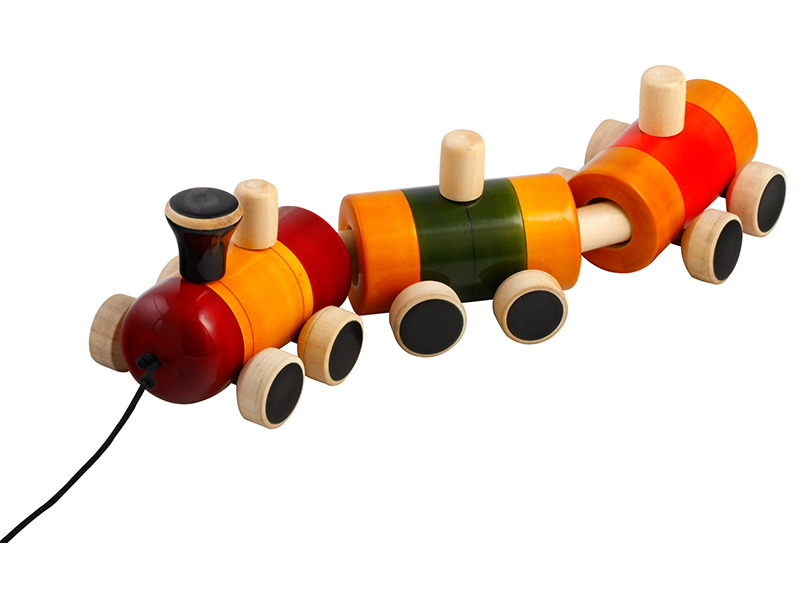 Pom Pom Rail - Channapatna wooden pull toy with one engine and 2 wagons. Buy Online India INR 660.00